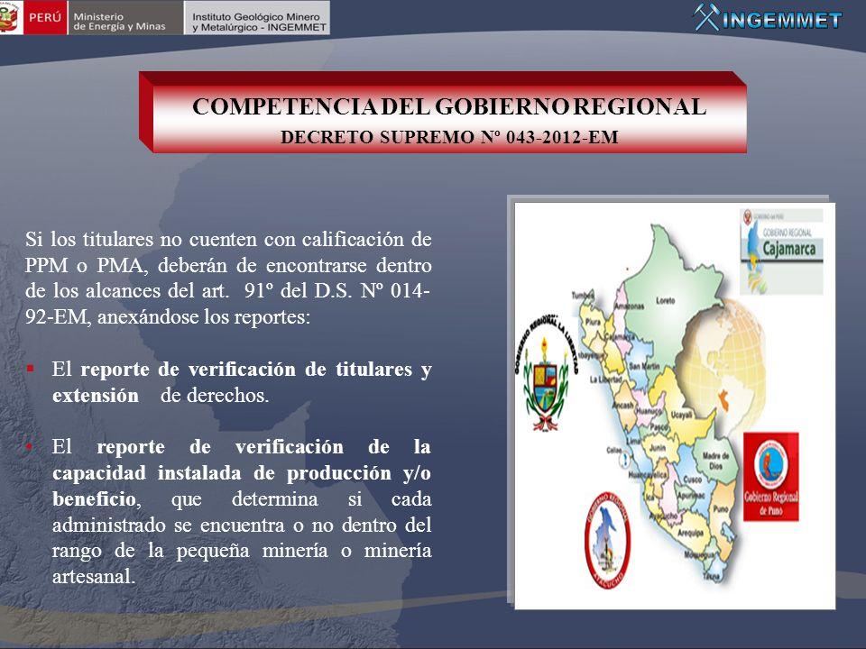COMPETENCIA DEL GOBIERNO REGIONAL DECRETO SUPREMO Nº 043-2012-EM