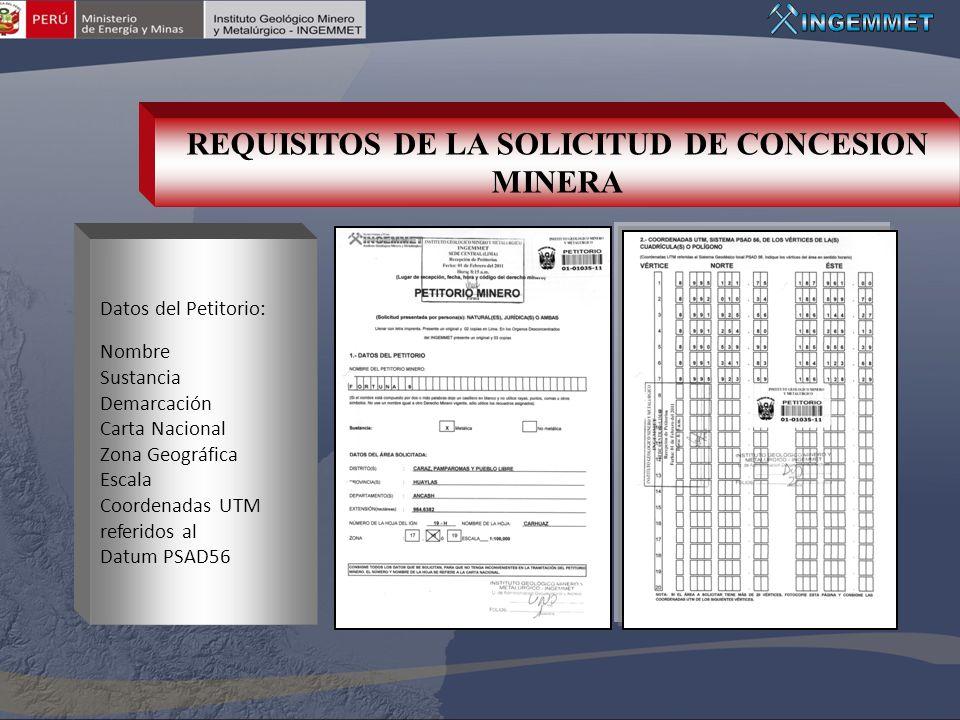 REQUISITOS DE LA SOLICITUD DE CONCESION MINERA
