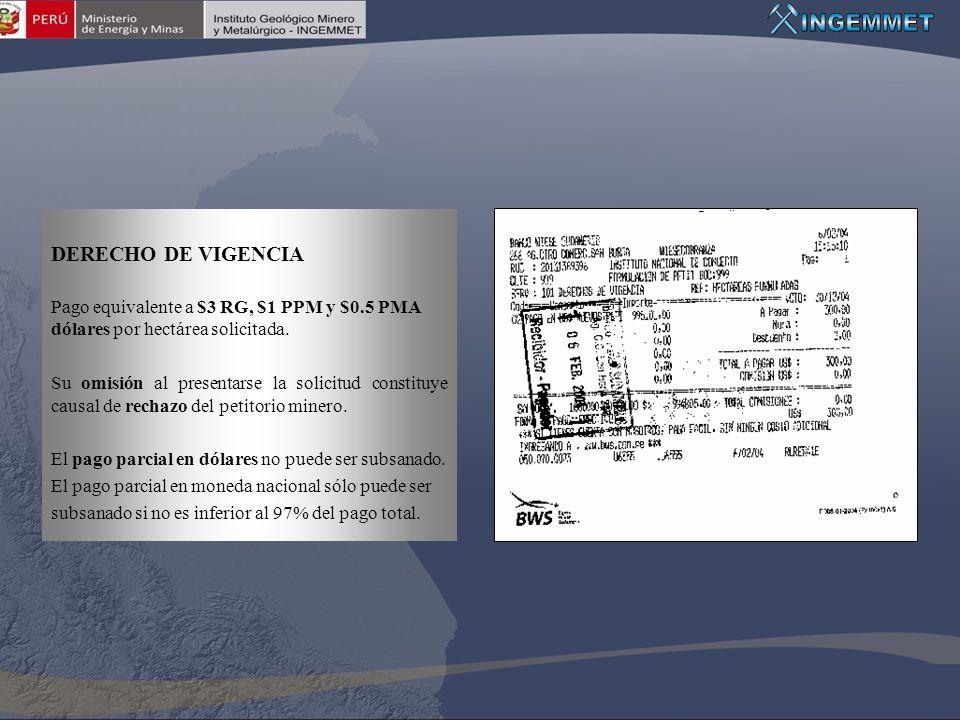 DERECHO DE VIGENCIA Pago equivalente a $3 RG, $1 PPM y $0.5 PMA dólares por hectárea solicitada.