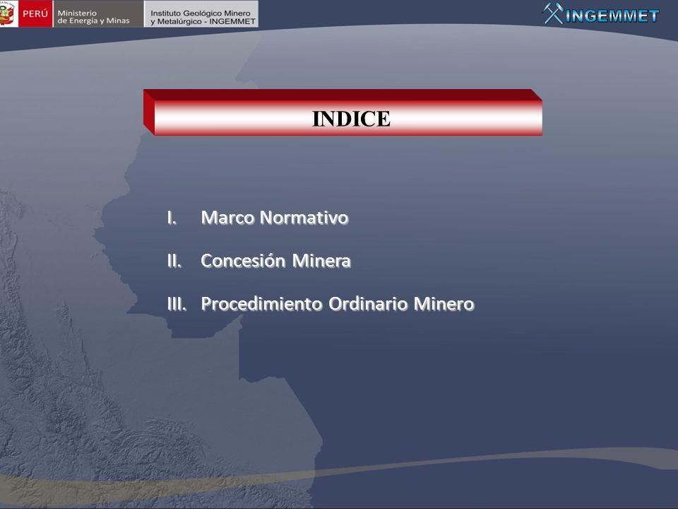 INDICE Marco Normativo Concesión Minera Procedimiento Ordinario Minero