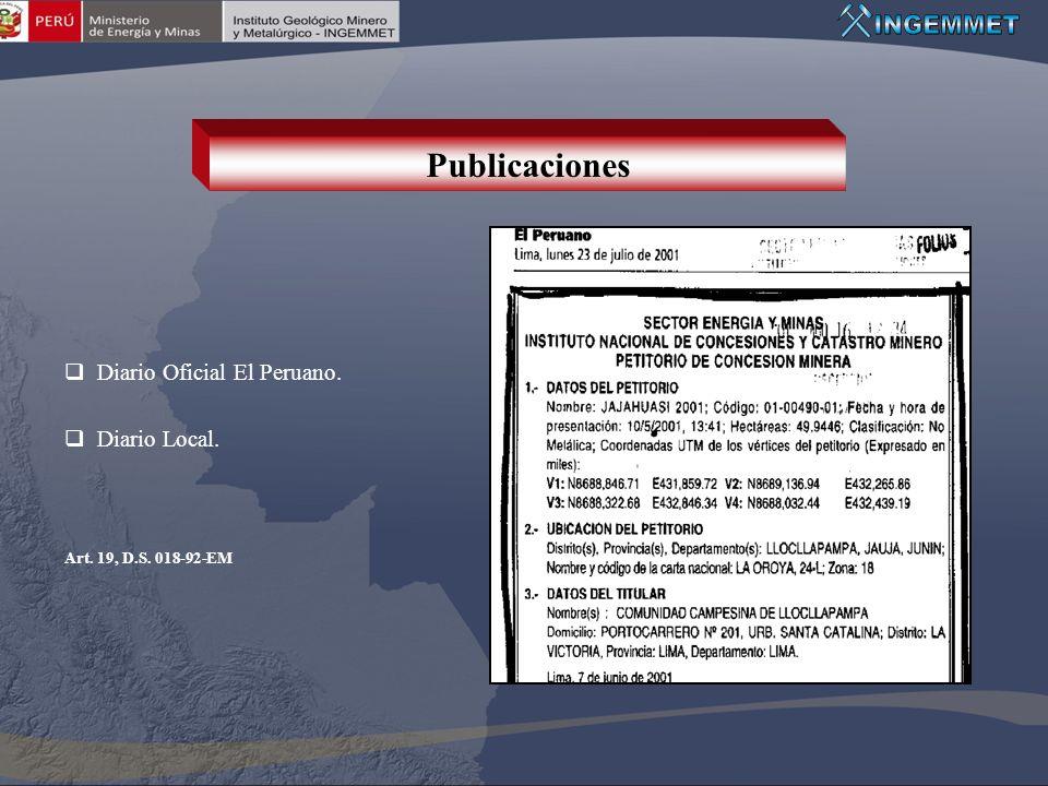 Publicaciones Diario Oficial El Peruano. Diario Local.