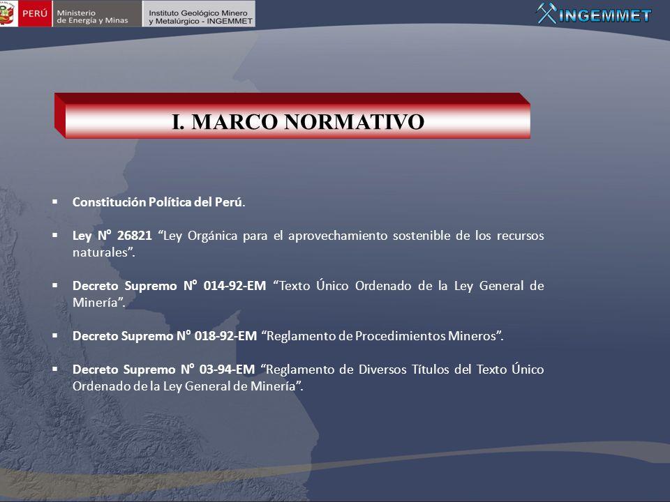 I. MARCO NORMATIVO Constitución Política del Perú.