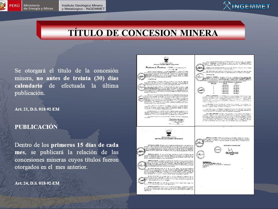TÍTULO DE CONCESION MINERA