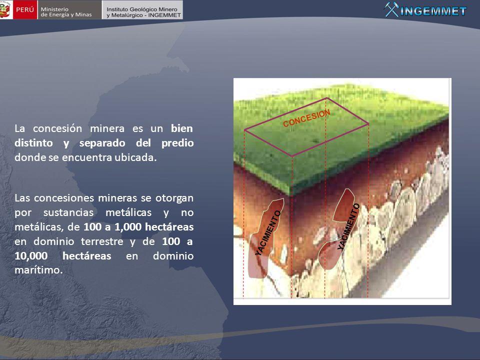 YACIMIENTO CONCESION. La concesión minera es un bien distinto y separado del predio donde se encuentra ubicada.