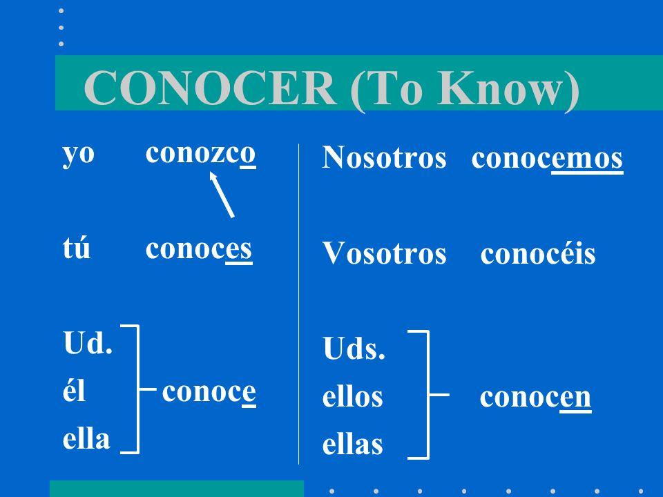 CONOCER (To Know) yo conozco Nosotros conocemos tú conoces