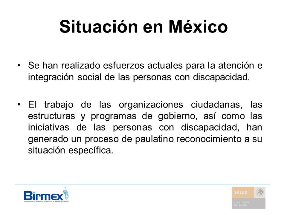 Situación en MéxicoSe han realizado esfuerzos actuales para la atención e integración social de las personas con discapacidad.