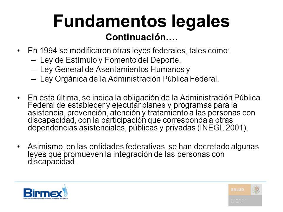 Fundamentos legales Continuación….
