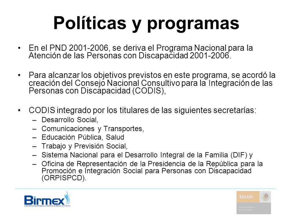 Políticas y programas En el PND 2001-2006, se deriva el Programa Nacional para la Atención de las Personas con Discapacidad 2001-2006.