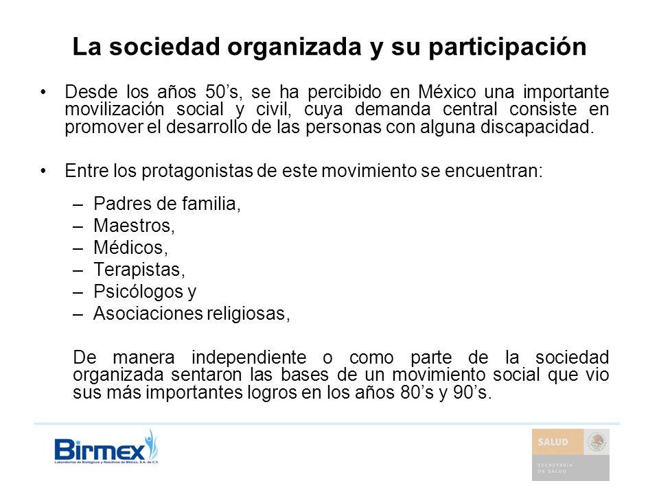 La sociedad organizada y su participación