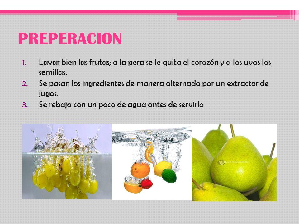 PREPERACION Lavar bien las frutas; a la pera se le quita el corazón y a las uvas las semillas.