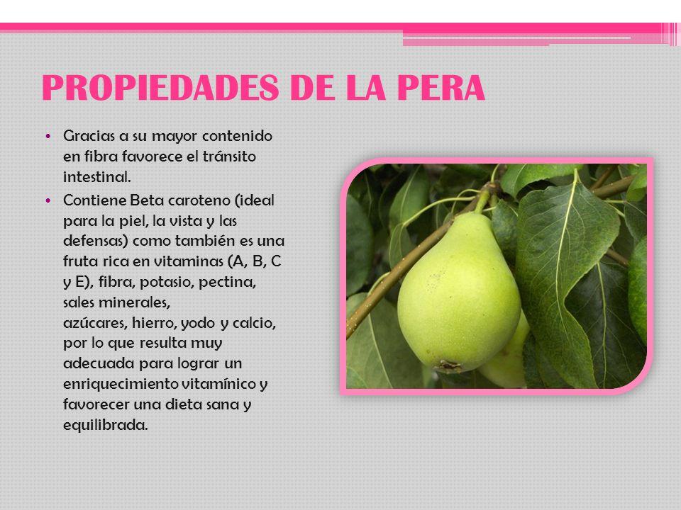 PROPIEDADES DE LA PERA Gracias a su mayor contenido en fibra favorece el tránsito intestinal.