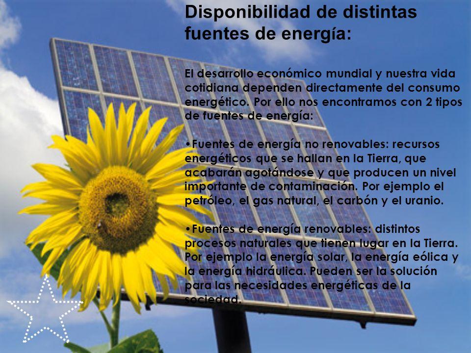 Disponibilidad de distintas fuentes de energía: