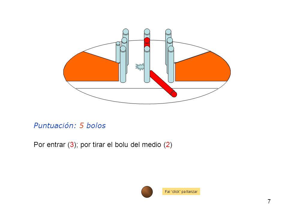 Por entrar (3); por tirar el bolu del medio (2)