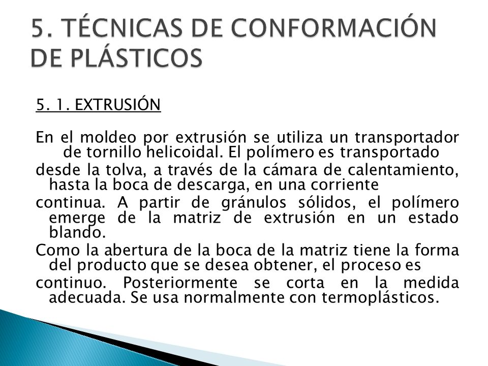 5. TÉCNICAS DE CONFORMACIÓN DE PLÁSTICOS