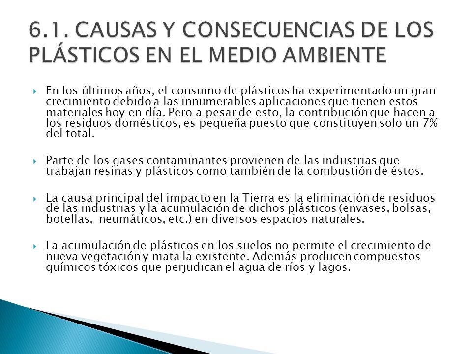 6.1. CAUSAS Y CONSECUENCIAS DE LOS PLÁSTICOS EN EL MEDIO AMBIENTE