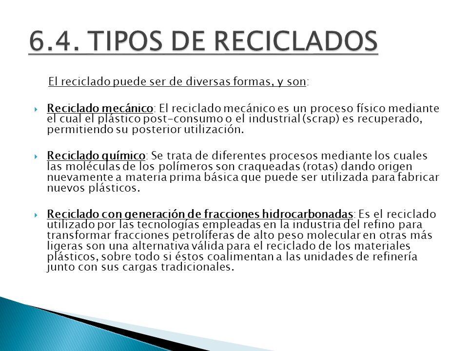 6.4. TIPOS DE RECICLADOS El reciclado puede ser de diversas formas, y son: