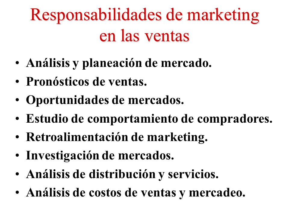 Responsabilidades de marketing en las ventas