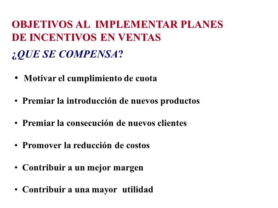 OBJETIVOS AL IMPLEMENTAR PLANES DE INCENTIVOS EN VENTAS