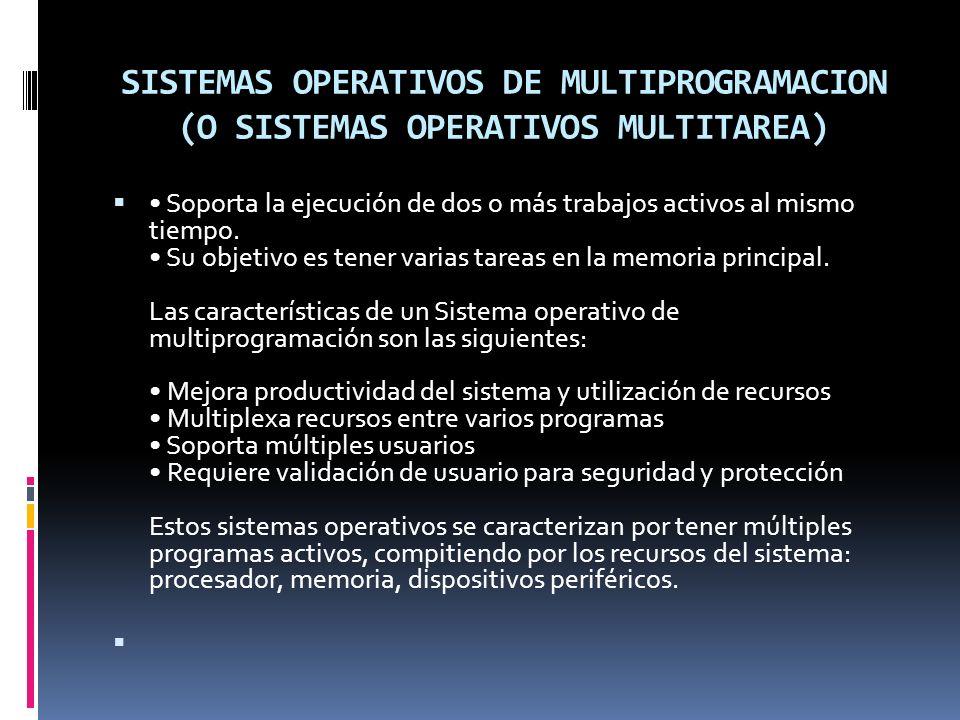 SISTEMAS OPERATIVOS DE MULTIPROGRAMACION (O SISTEMAS OPERATIVOS MULTITAREA)