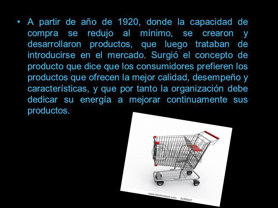 A partir de año de 1920, donde la capacidad de compra se redujo al mínimo, se crearon y desarrollaron productos, que luego trataban de introducirse en el mercado.