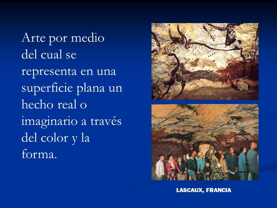 Arte por medio del cual se representa en una superficie plana un hecho real o imaginario a través del color y la forma.