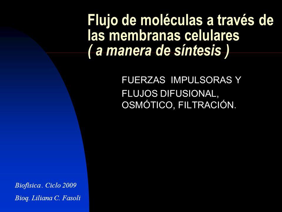 FUERZAS IMPULSORAS Y FLUJOS DIFUSIONAL, OSMÓTICO, FILTRACIÓN.