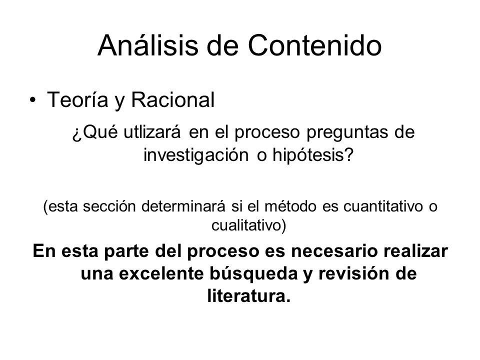 Análisis de Contenido Teoría y Racional