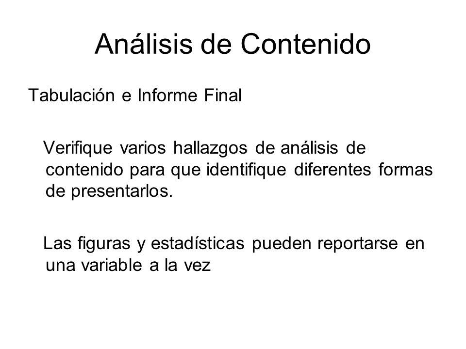 Análisis de Contenido Tabulación e Informe Final