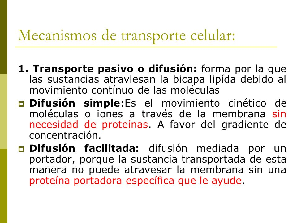 Mecanismos de transporte celular: