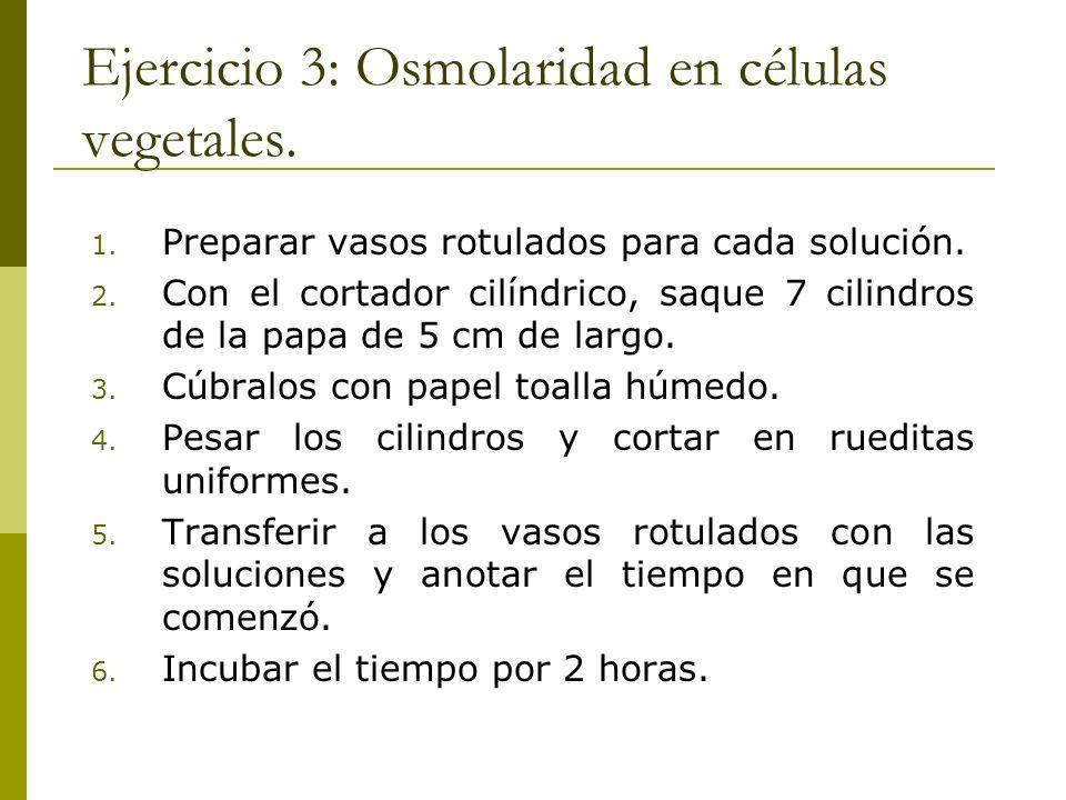 Ejercicio 3: Osmolaridad en células vegetales.