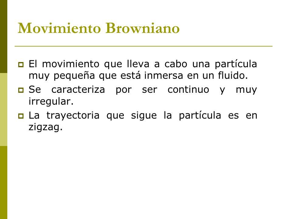 Movimiento Browniano El movimiento que lleva a cabo una partícula muy pequeña que está inmersa en un fluido.