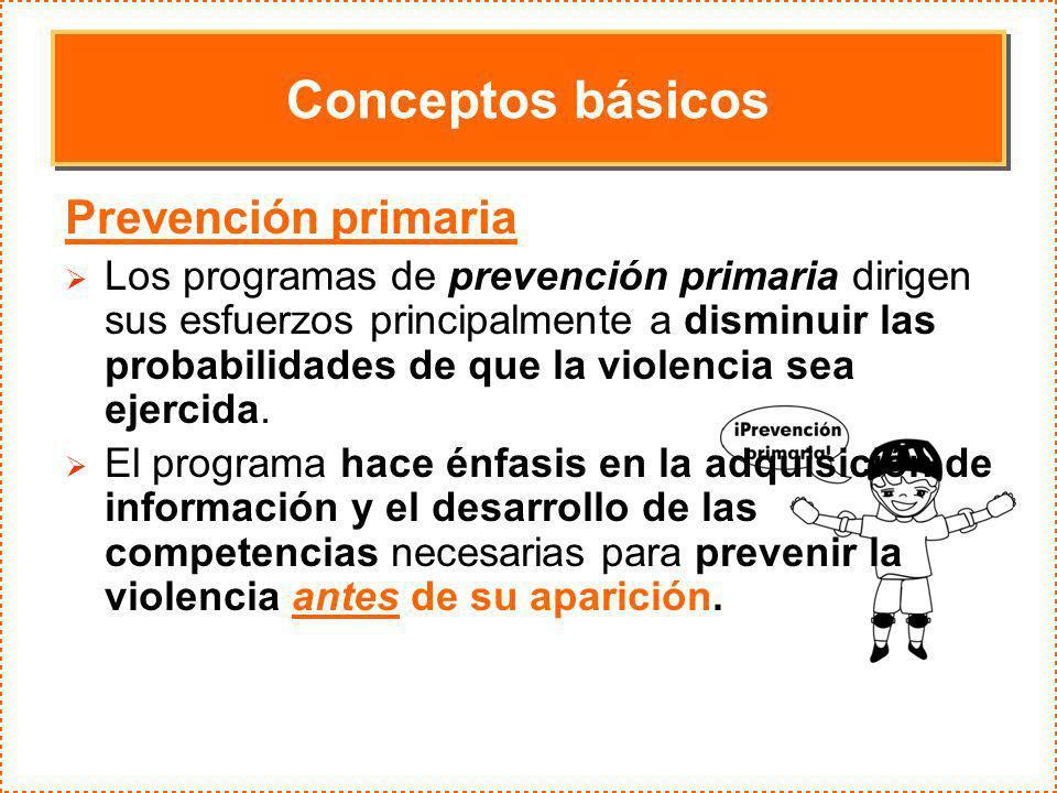 Conceptos básicos Prevención primaria