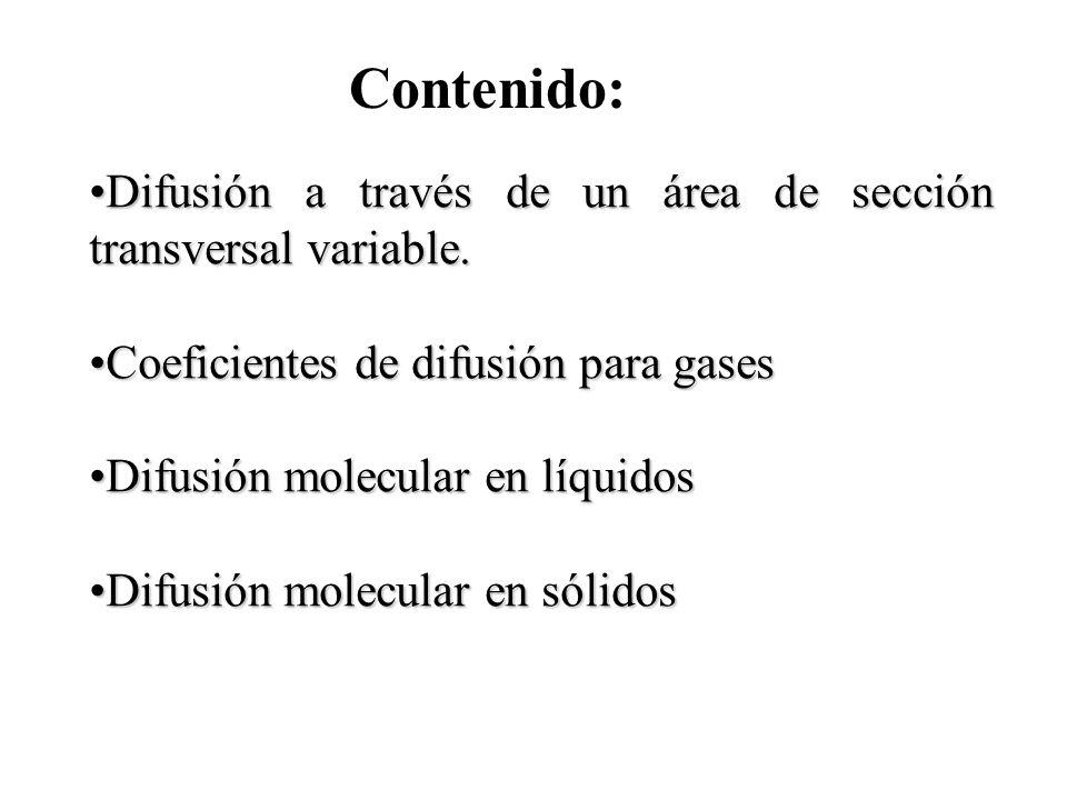 Contenido: Difusión a través de un área de sección transversal variable. Coeficientes de difusión para gases.