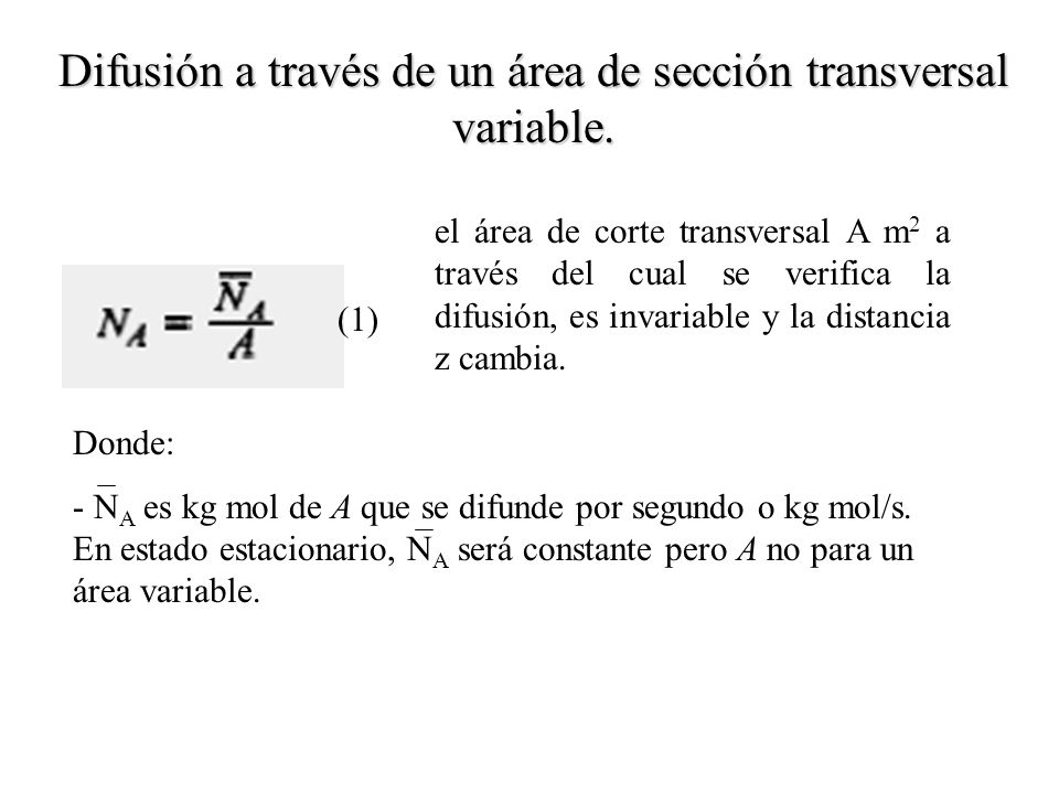 Difusión a través de un área de sección transversal variable.