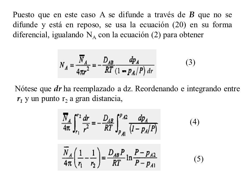Puesto que en este caso A se difunde a través de B que no se difunde y está en reposo, se usa la ecuación (20) en su forma diferencial, igualando NA con la ecuación (2) para obtener