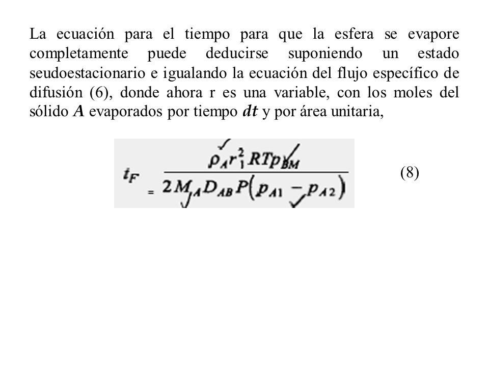 La ecuación para el tiempo para que la esfera se evapore completamente puede deducirse suponiendo un estado seudoestacionario e igualando la ecuación del flujo específico de difusión (6), donde ahora r es una variable, con los moles del sólido A evaporados por tiempo dt y por área unitaria,