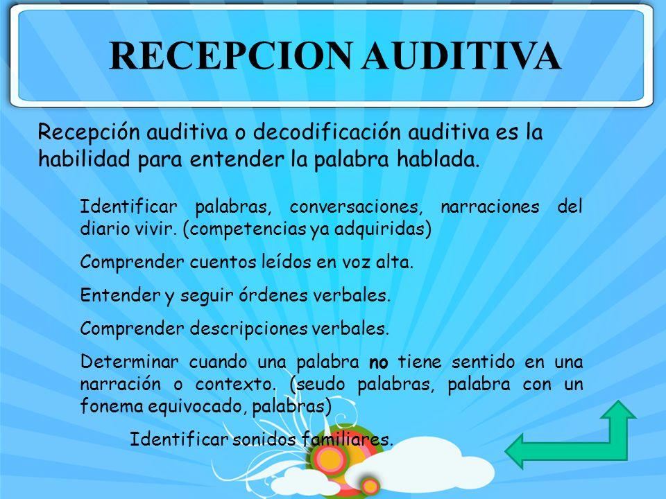 RECEPCION AUDITIVARecepción auditiva o decodificación auditiva es la habilidad para entender la palabra hablada.