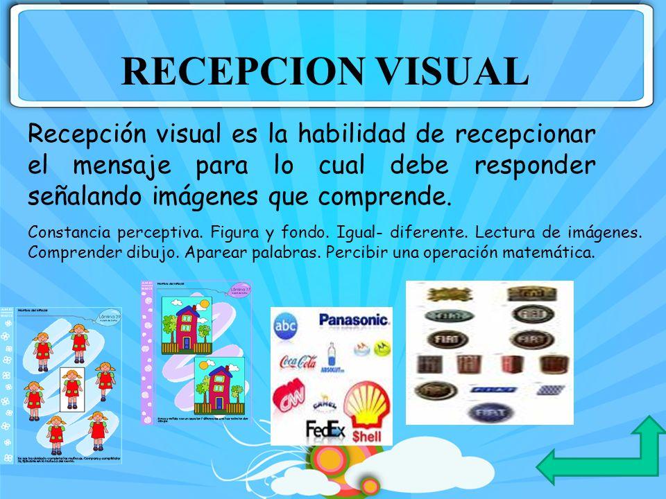 RECEPCION VISUAL Recepción visual es la habilidad de recepcionar el mensaje para lo cual debe responder señalando imágenes que comprende.