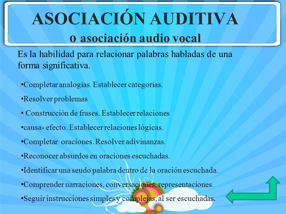 ASOCIACIÓN AUDITIVA o asociación audio vocal