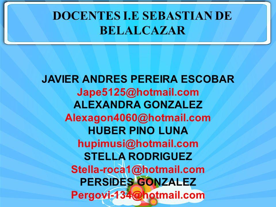 DOCENTES I.E SEBASTIAN DE BELALCAZAR