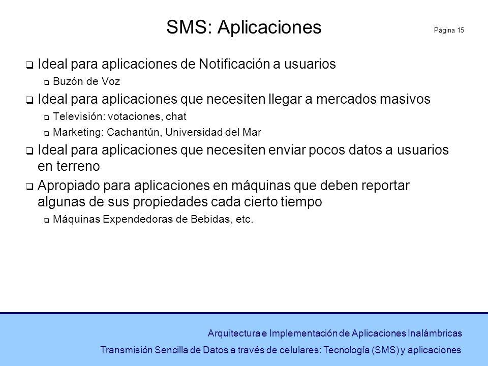 SMS: Aplicaciones Ideal para aplicaciones de Notificación a usuarios