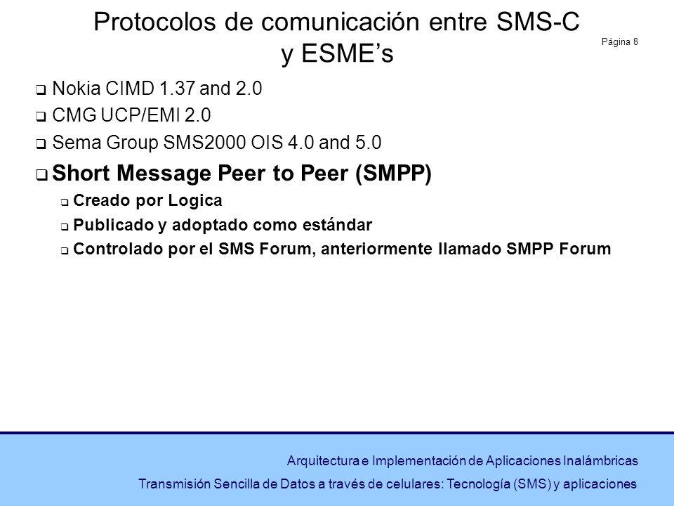 Protocolos de comunicación entre SMS-C y ESME's
