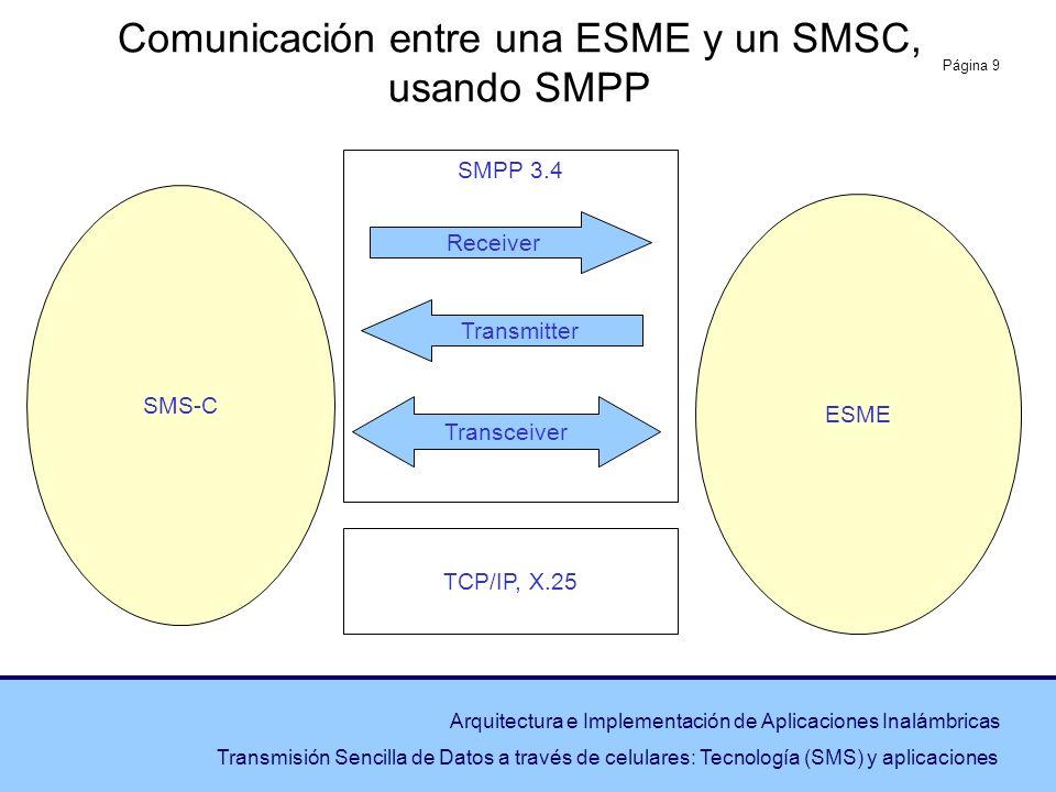 Comunicación entre una ESME y un SMSC, usando SMPP