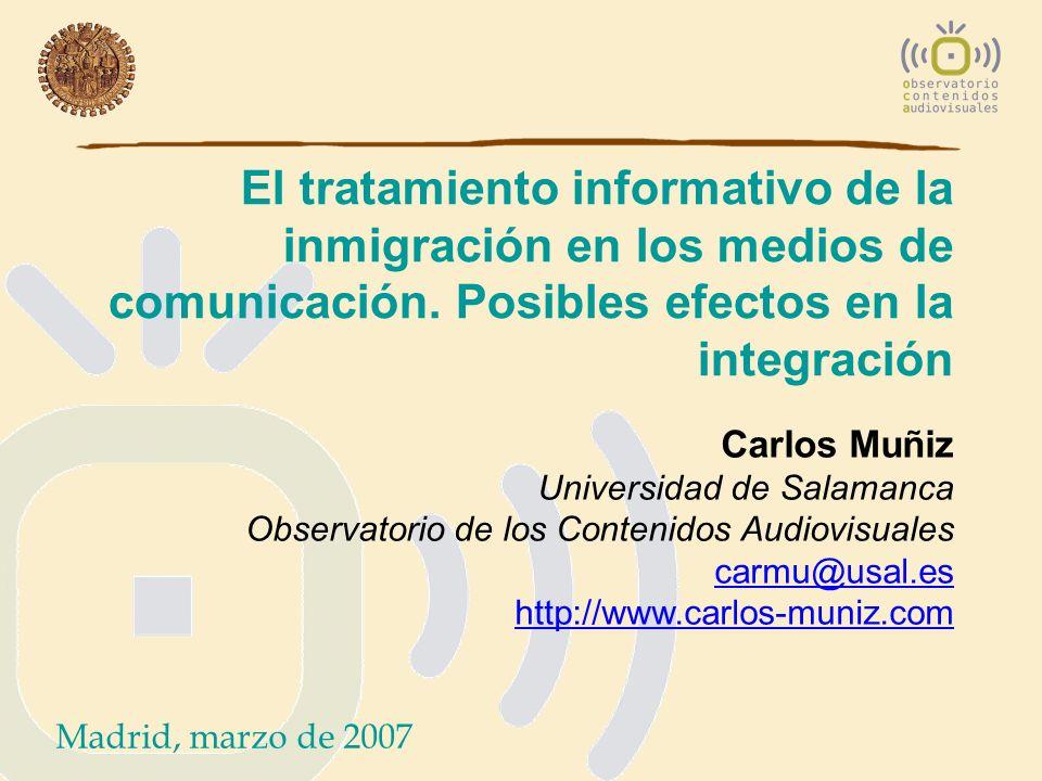 El tratamiento informativo de la inmigración en los medios de comunicación. Posibles efectos en la integración