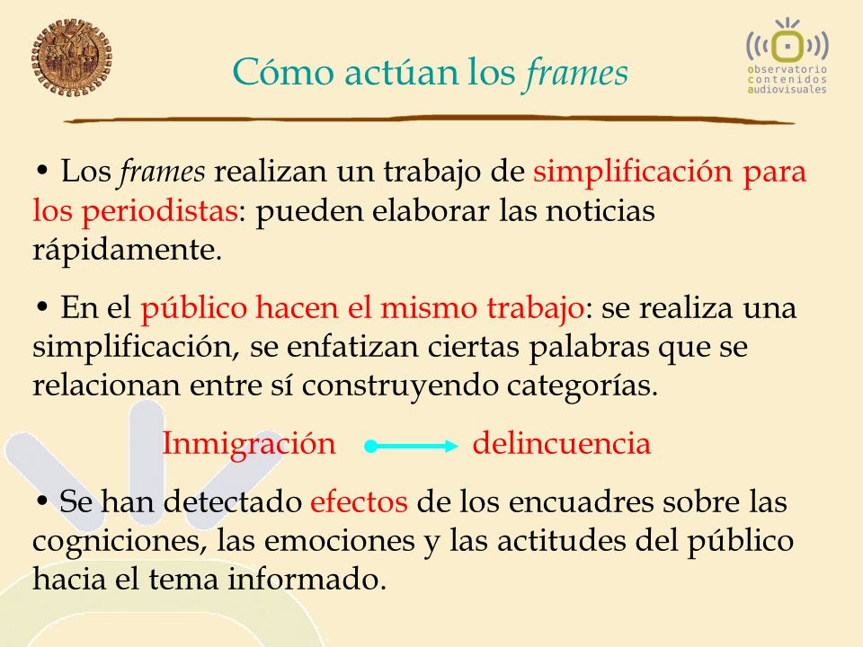 Cómo actúan los frames Los frames realizan un trabajo de simplificación para los periodistas: pueden elaborar las noticias rápidamente.