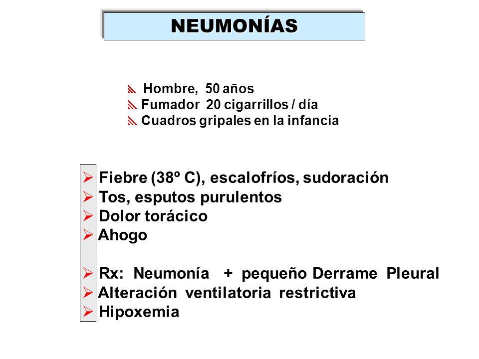 NEUMONÍAS Fiebre (38º C), escalofríos, sudoración