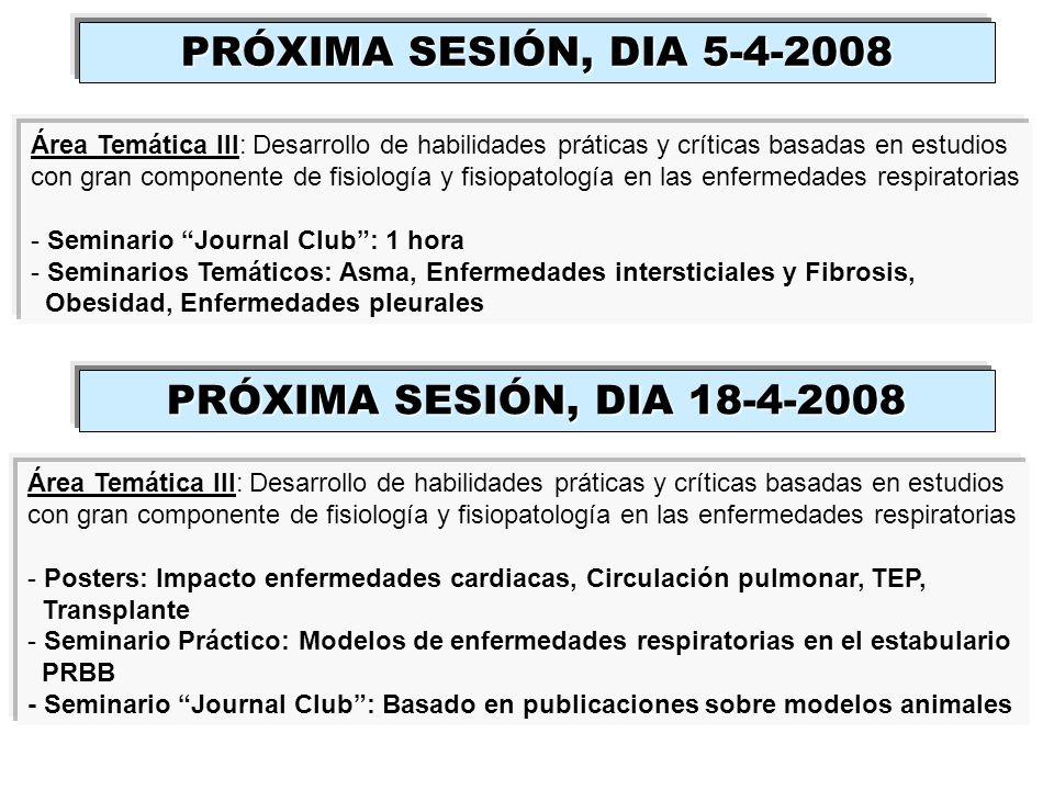 PRÓXIMA SESIÓN, DIA 5-4-2008 PRÓXIMA SESIÓN, DIA 18-4-2008