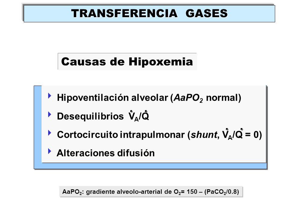 . . . . TRANSFERENCIA GASES Causas de Hipoxemia