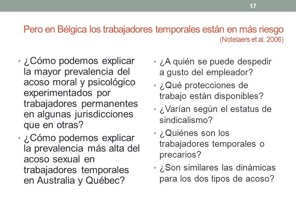 Pero en Bélgica los trabajadores temporales están en más riesgo (Notelaers et al, 2006)