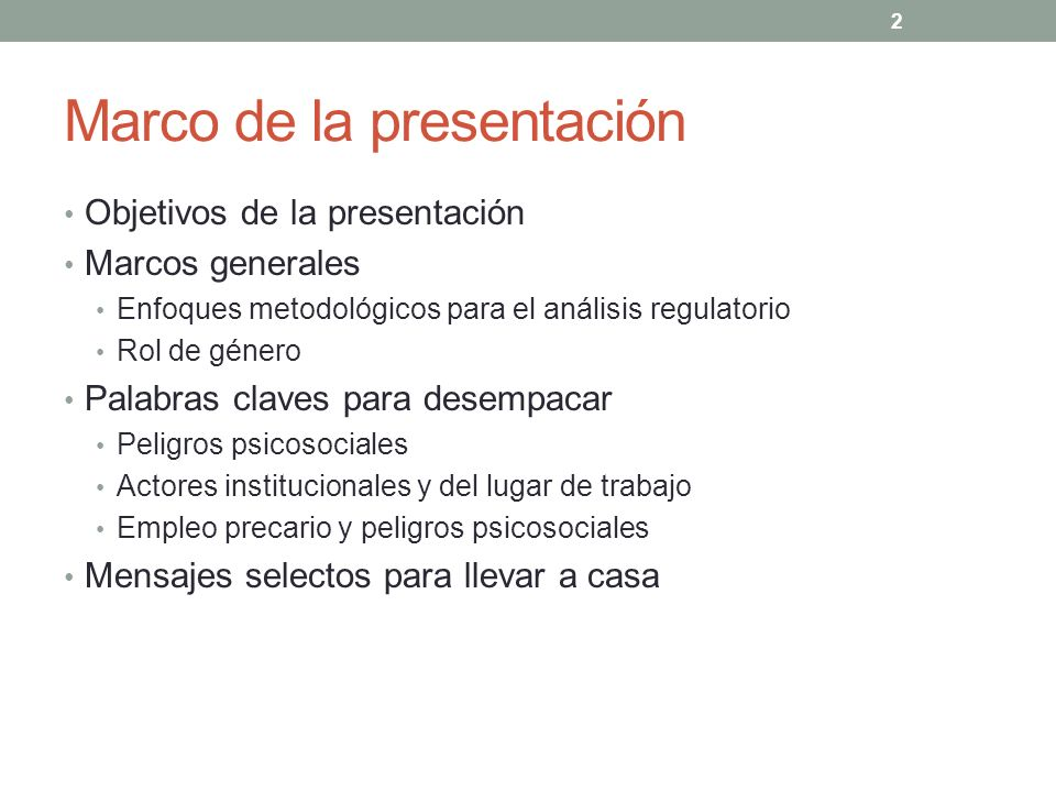 Marco de la presentación